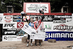 Redbull double vision on the top step of the podium with Jill Kintner and Steve Smith.