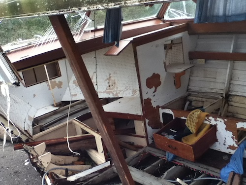 Front of the destroyed boat inside