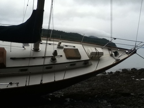 Washed up sailboat