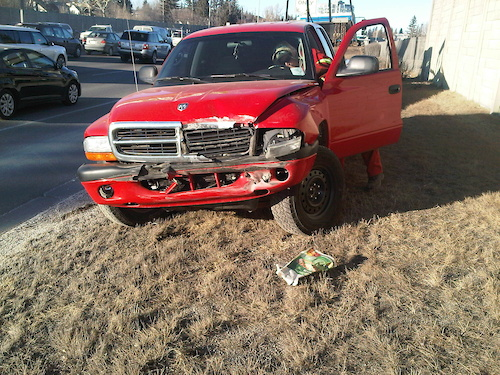 My truck after some asshole cut me off on crowchild.  fished-tailed and slammed into median.  All fixed now though