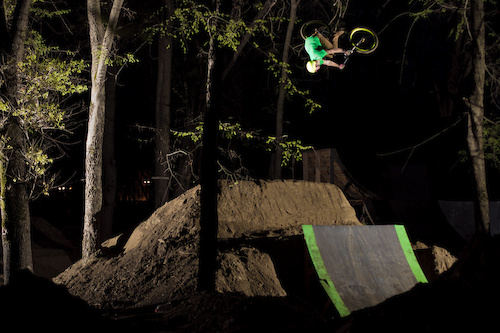 Night flatspin over the second jump in a line.