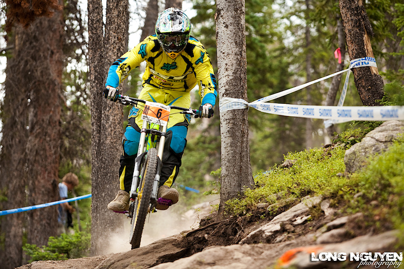 Kevin Aiello stay focused during Downhill qualifying.