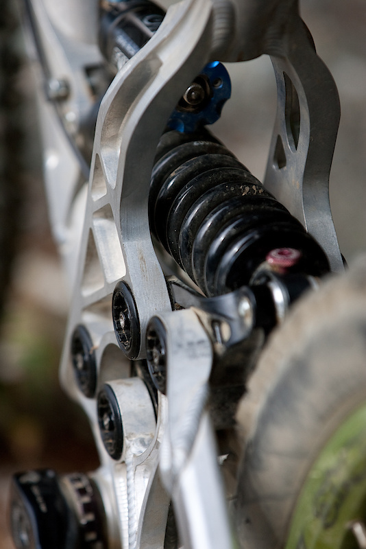 The DHR has been engineered to fit many different shocks so your options are wide open, including both coil and air sprung dampers. Look for Turner to fit a small fender to keep the shock from getting plastered with rocks and dirt.