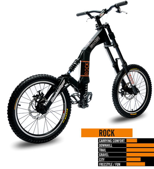 The ROCK offers you a dirtjump-suspension fork at the front and steel spring buffers at the back. Thanks to its 24-/20-inch tyres this MountainSkyver really parties on downhill single and gravel trails. Having this downhill machine on their back, downhillers reach trails they could only have dreamed of reaching using a mountain bike. Rock on!