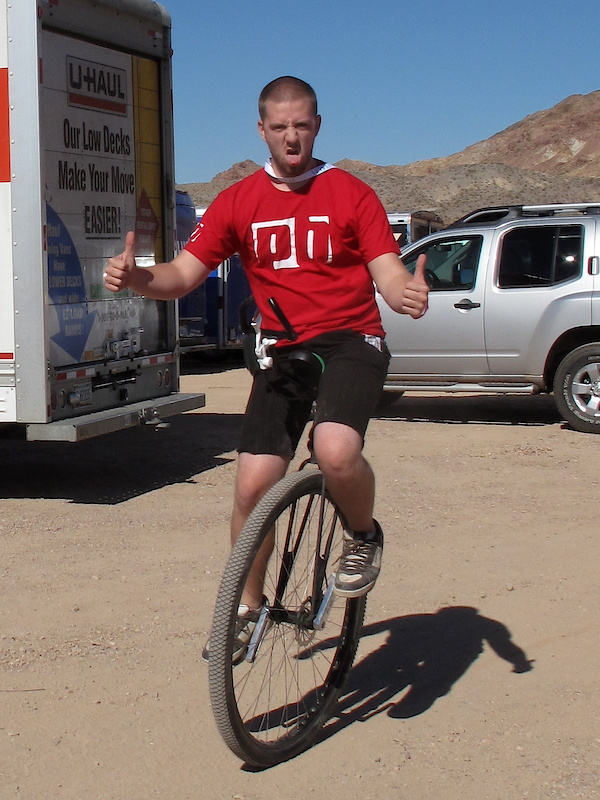 While Aaron managed to go for a spin on this big wheeled unicycle without falling off and harming himself, the rest of our crew beat him black and blue with a pillowcase fill of Chris King headsets once we saw this photo.