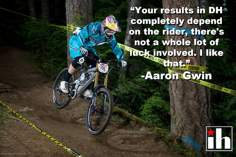 Gwin at the Pro GRT race at Port Angeles, Washington. Like a lot of North American racers, he'd like to see more World Cup races held on his home continent.