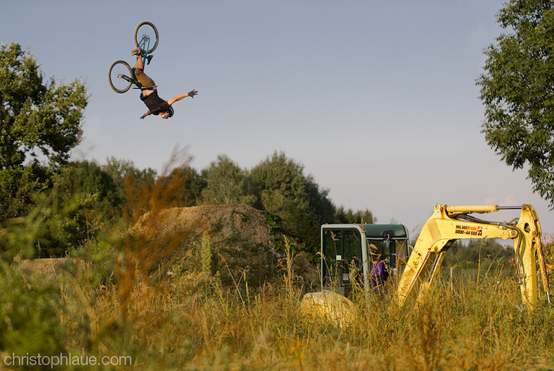 Amir Kabbani is riding and Andi Wittmann building some dirt jumps for the Bavarian Super Session