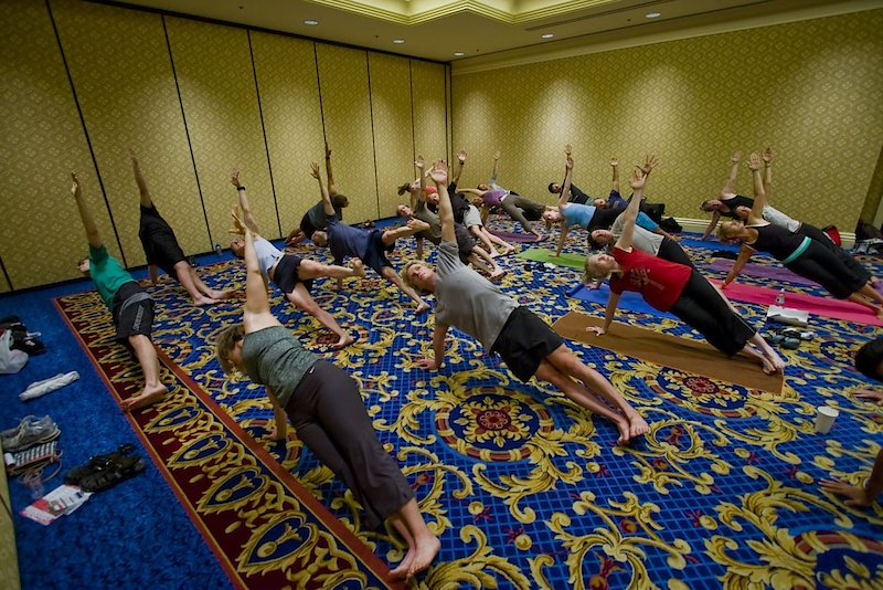A group yoga shot.