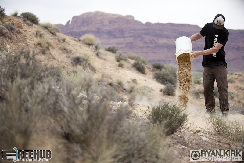 Jon Angermeier dumping it out on a build session in Moab, UT.