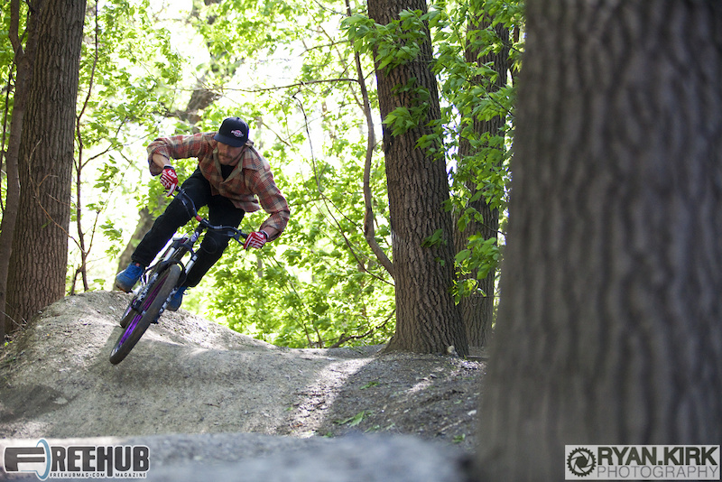 Rider Brandon Watts pumping it on the pumptrack at the Garden.