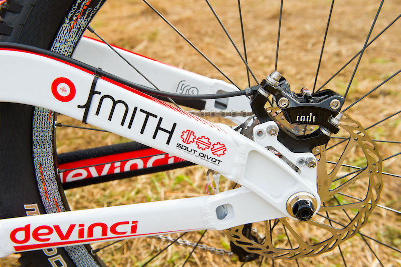 The Wilson utilizes a flip-flop eccentric chip (hidden behind the split pivot bolt through axle) that enables riders to fine tune the bike's geometry a bit. Consequently, there are two different brake mounting options to allow riders the most efficient mount for the type of brake/rotor they are utilizing.