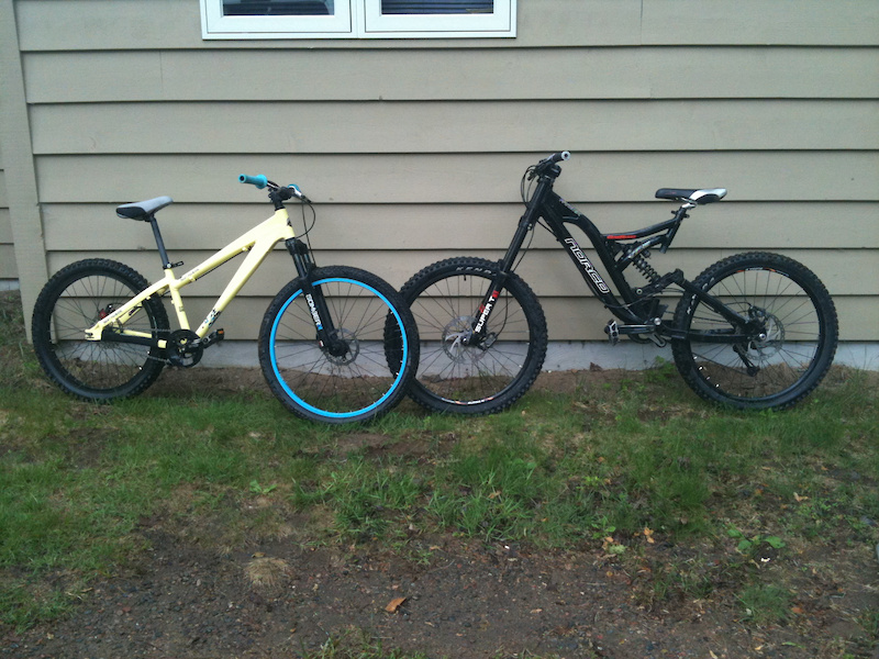 ben swyers bike on the left(2010 rocky mountain DJ flow 1) and Spencer hazelwoods bike on the right(2007 norco atomik)
