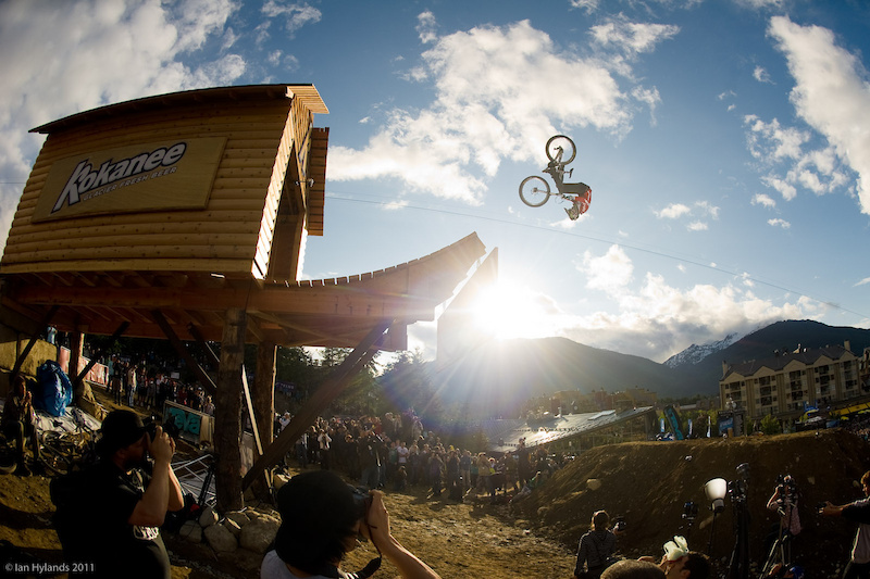Cam Zink winning with a front flip off of the Kokanee Cabin during the Teva Best Trick contest at Crankworx