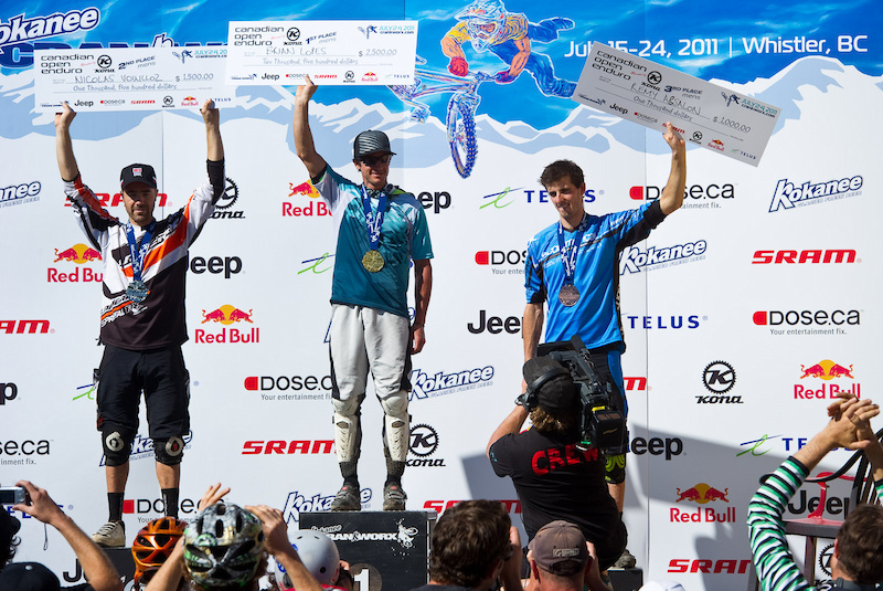 Men s Pro Podium L-R Nicolas Vouilloz 2 Brian Lopes 1 and Remy Absalon 3 .