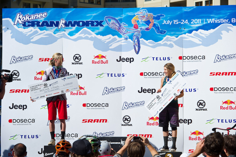 ACC had to catch a flight so it was only L-R Katrina Strand 2 and Fanny Paquette 3 on the podium for the Pro Women.