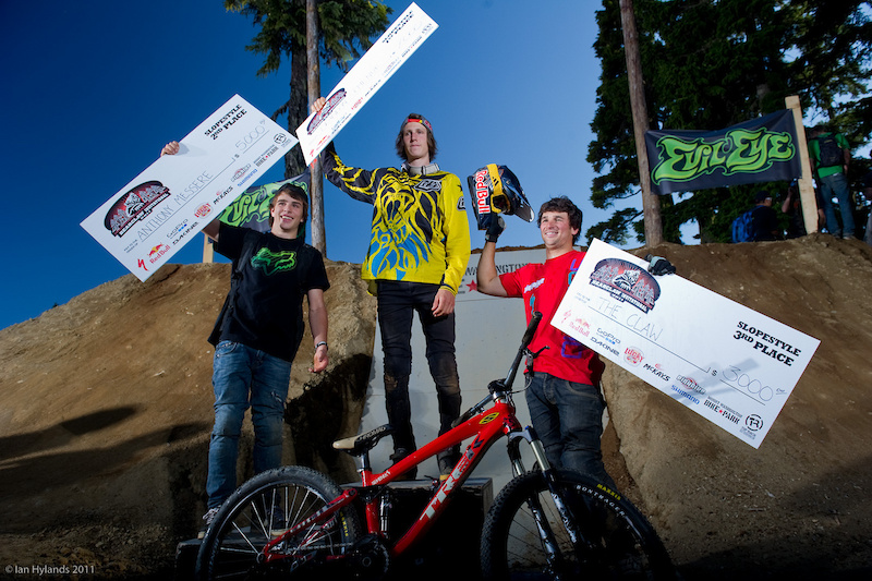 The Podium left to right Anthony Messere 2nd Brandon Semenuk 1st Darren Berrecloth 3rd.