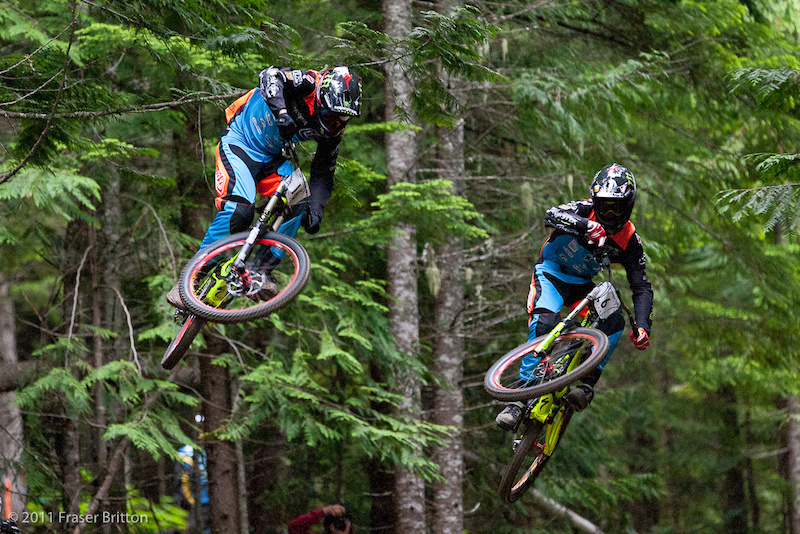 Brendan and Troy get along like a house on fire. To the point that they pulled over to tackle the A Line downhill race at Crankworx side by side to toke out the fans.