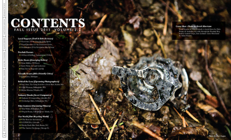 Contents Page of the newest Freehub Volume that hit newsstands October 25th.