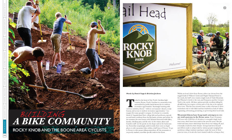 Rocky Knob Bike Park is one of our four different features in 'Our World', a section that is dedicated to the endeavors associated with growing and building our sport. For our current issue we showcased the Bearclaw Invitational, COPMOBA, Rocky Knob, and the Garden Dirt Jumps in Chicago. 