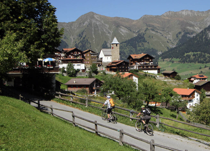 Riding through the ridiculously picturesque village of Tschiertschen on our way to finish our ride from Lenzerheide to Chur