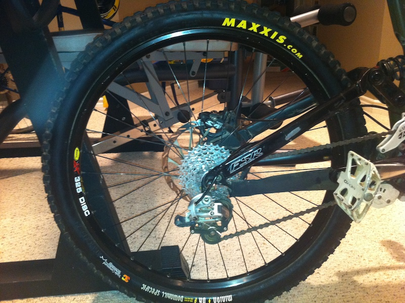 Maxxis Minnion DHF 3c , Mavic 325 laced to a sealed specialized hub, sram x9 rd