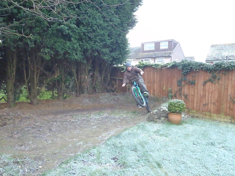 Backyard pumptrack survives our monster sized Hedge having 10ft cut off it