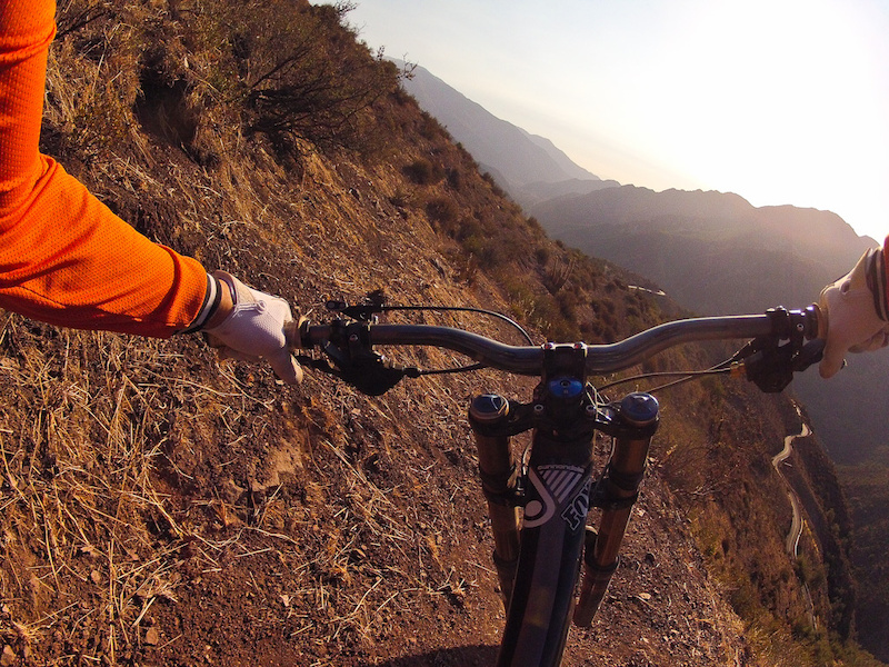 Chris Van Dine navigates some of the steep trails on La Parvaso in Chile.