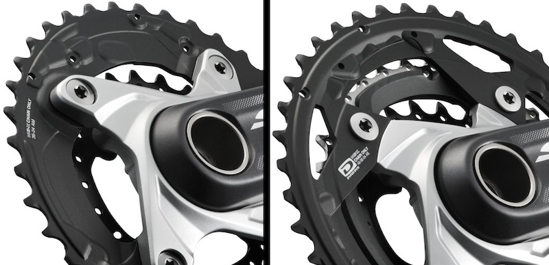 A closer look at the SLX crankset indicates that it may have an interchangeable spider. The two-by version left has a different spider than the triple crankset on the right. Torx hardware indicates that SLX chainring bolts are aluminum.