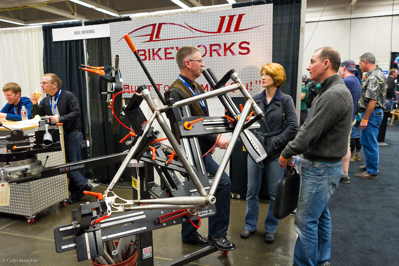 Anvil Bike Works with a ti welding rig on display.