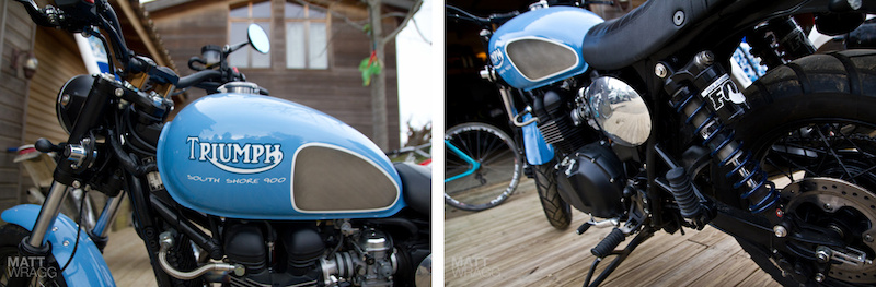Details of the Triumph Bonneville scrambler, including the custom paintjob and prototype dampers from Fox Racing Shox.