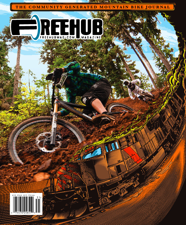 Freehub strives to be different than any other Mountain Bike publication out there, and will always showcase community generated content and a mixture of Art and Photography on their covers as shown here on Volume 3.1.