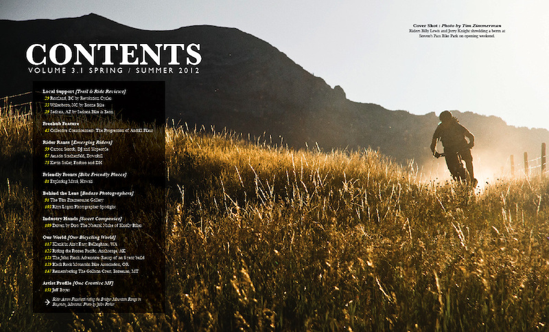 Contents Page of the newest Freehub Volume that will hit newsstands April 17th, 2012.