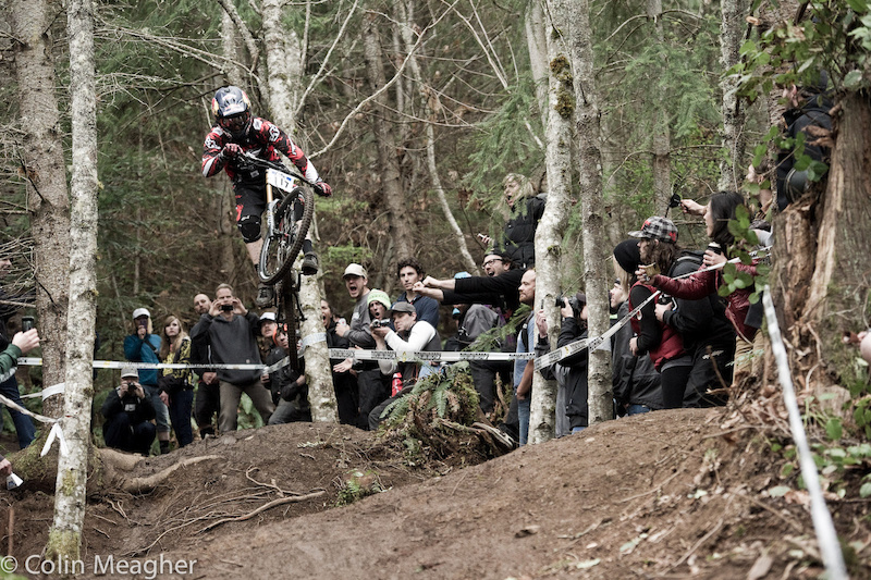 Sending the road gap: Aaron Gwin on track.