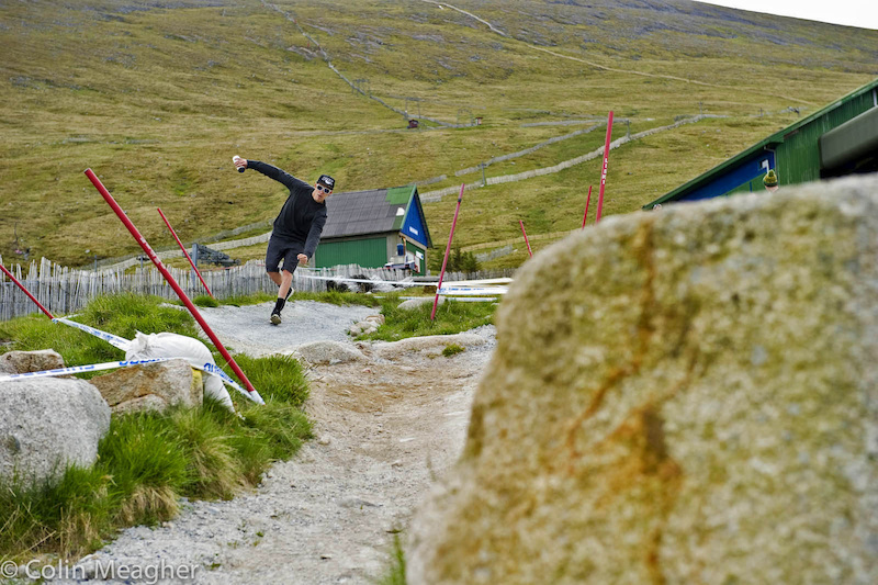 Sam Blenkinsop railing Danny Hart's corner during the track walk...