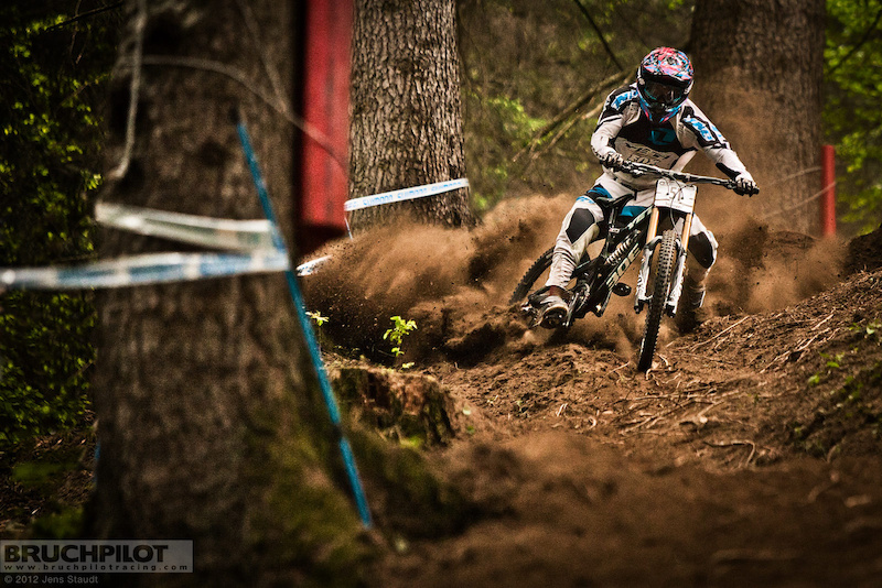 Elliot getting wild in the loose conditions of the worldcuptrack of Val di Sole. www.facebook.com/BruchpilotRacing