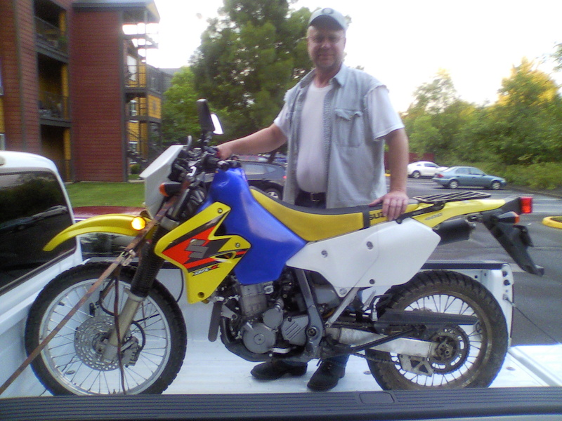 My dad and my newly purchased DR-Z400.