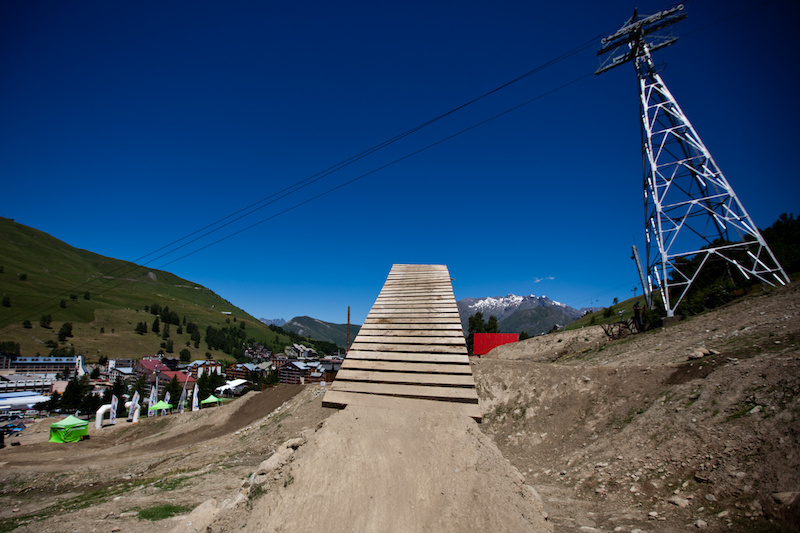 The iXS Slopestyle course at Crankworx Les deux Alpes in France.