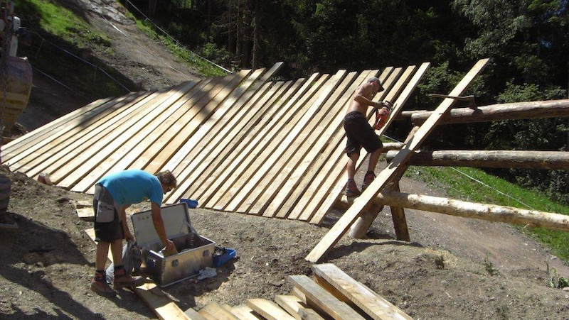 Building up the wallride on the new Lumberjack Line