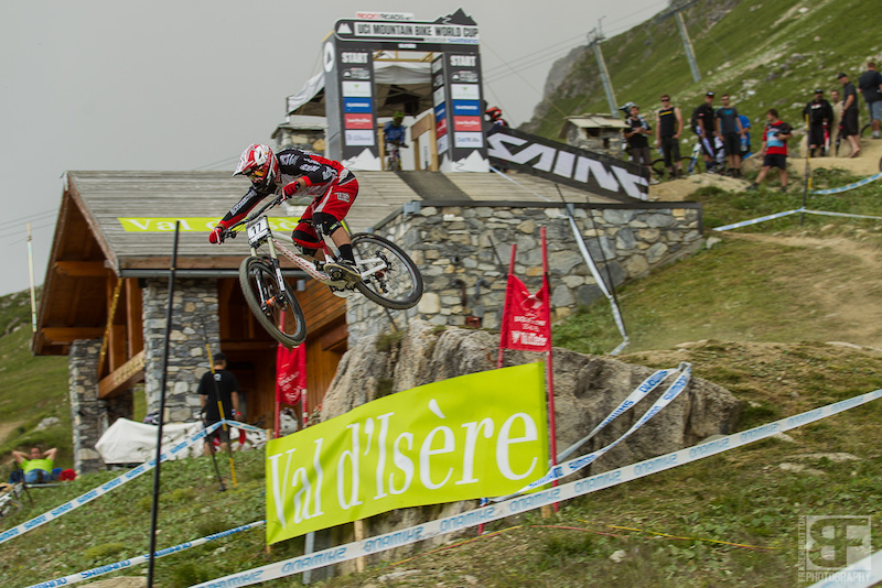Remi Therion just before the deluge and hail hit the top of the track. 37 men made it down the track before everything came to a grinding halt.