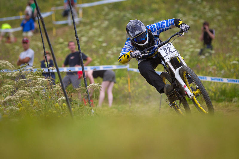 Team CRC Nukeproof during qualifying for the 2012 World Cup in Val D'Isere France