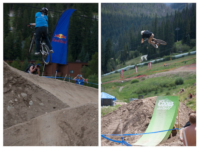 Greg Watts left with a one footed x-up over the berm to berm while Kelsey Hoog right shows everyone how to boost.