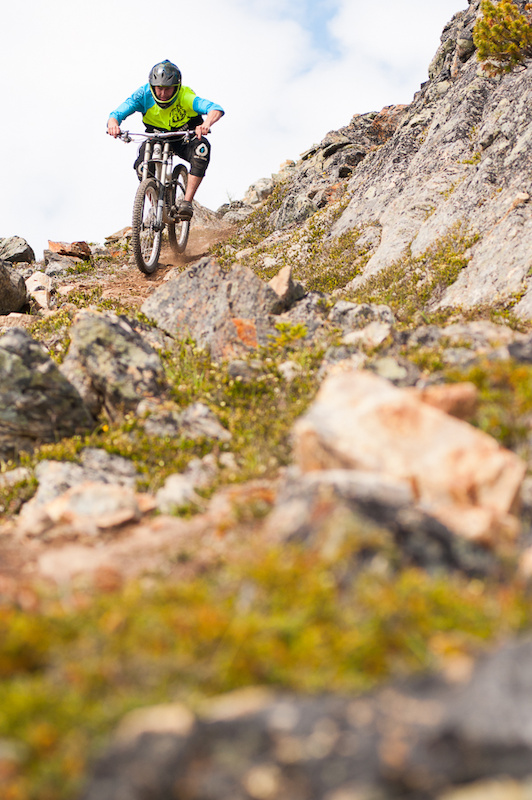 <i>Jared Vandergriend navigates one of the more technical sections near the top of the trail.</i>