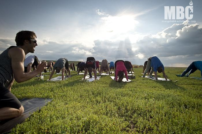 Mongolia Bike Challenge Stage Three - Post Race Yoga. Photo Credit Margus Riga