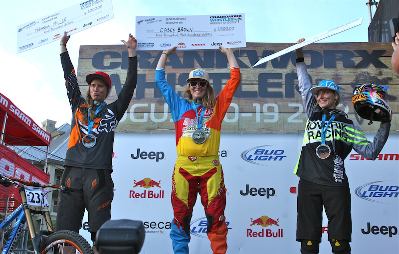 Casey Brown took the 2012 Crankworx Garaanzo DH win, followed by Miranda Miller and Claire Buchar. All three women will be representing Canada at the 2012 World Championship in Austria.