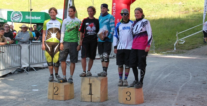 Podium of the qualification run at Trek Bike Attack 2012 1. Braumann Birgit Austria 18.02 4 2. Thoma Ines Germany 18.02 6 3. Oetjen Lucia Switzerland 19.11 1 1. Wildhaber Rene Switzerland 14.57 9 2. Wildhaber Gustav Switzerland 15.09 0 3. Liebherr Janick Switzerland 15.39 5 pic c.capeller