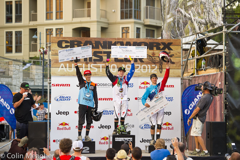 Men's Pro Giant Dual Slalom Podium (L-R): Luca Shaw (2), Troy Brosnan (1), and Bas Van Steenbergen (3).