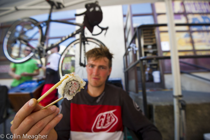 Fairclough and sushi have a daily love/love relationship in Whistler Village. Likely Brendog's weeklong bill at Sushi Village looks like my monthly Pinkbike paycheck!