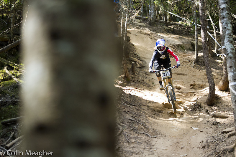 Rachel Atherton has been enjoying her time here in Whistler. She practiced the track, but ultimately opted to not race...possibly her shoulder has been bothering her? A week's worth of riding will tend to do that to anyone, let alone the one Rachel hammered the crap out of when she collided with that car during a training accident three years ago.