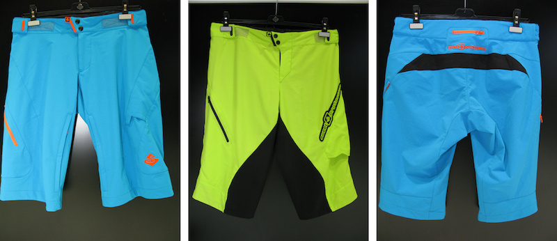 Sweet Protection's blue shorts shown here are mid length for all mountain use and come just past your knee while the fluro yellow is the downhill short and is cut a little longer.  Other colourways are available.