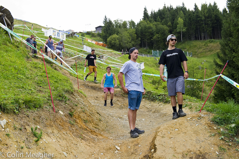 Ah, bike park berms. Not sure why Steve Smith looks concerned here--he's got an helluva track record of late on bike park courses.
